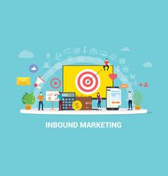 inbound marketing concept strategy team working vector image