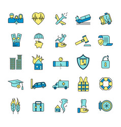 insurance elements signs color icon set vector image