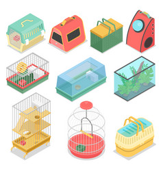 Isometric pet carriers with aquarium vector