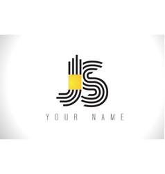 Js black lines letter logo creative line letters vector
