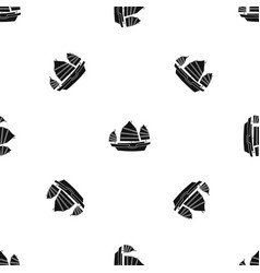 Junk boat pattern seamless black vector