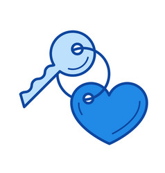 Key with a trinket in the shape of heart line icon vector
