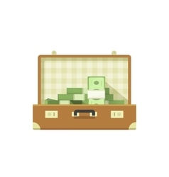 Leather suitcase open full of money vector image