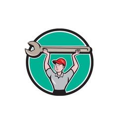 Mechanic Lifting Wrench Circle Cartoon vector image