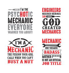 Mechanic quote and saying set of quote vector