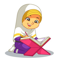 moslem girl reading quran vector image