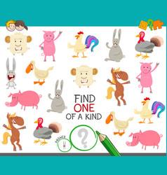 One a kind game with cartoon farm animals vector