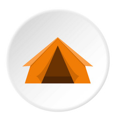 orange touristic camping tent icon circle vector image