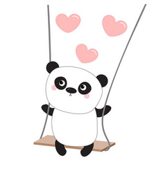 Panda ride on the swing pink flying hearts happy vector