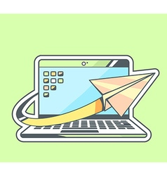 Paper plane flying around blue laptop on vector