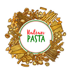 pasta banner of italian spaghetti sketch vector image