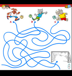 paths maze game with soccer animals vector image