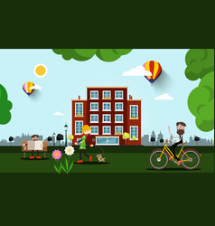 people in city with building on background vector image