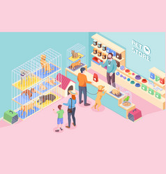 pet shop cats dogs animals store isometric vector image