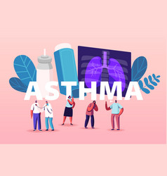 Pulmonology and asthma disease tiny characters vector