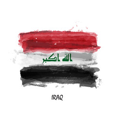 Realistic watercolor painting flag of iraq vector
