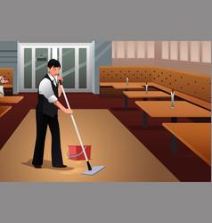 Restaurant worker cleaning restaurant after vector