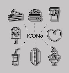 Set business commercial icons decoration vector