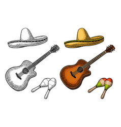 set for poster mexican carnival guitar maracas vector image