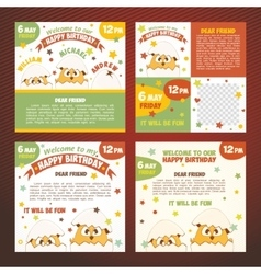 Set invitations birthday vector