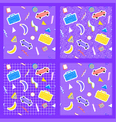 Set memphis pattern geometry different backgrounds vector