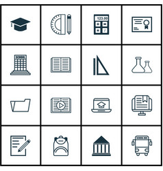 Set of 16 school icons includes taped book paper vector