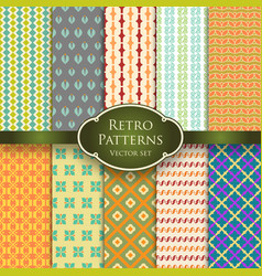 set of various retro colorful seamless patterns vector image