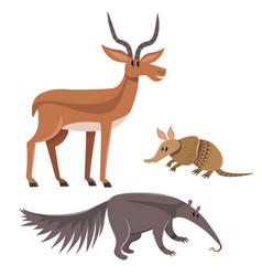 Set of wild animals in cartoon style vector