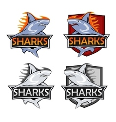 Sharks logo set Animal hunter emblem company vector image