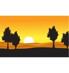 Silhouette of tree on the hill at the sunset vector image