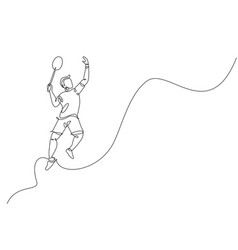 Single continuous line drawing young agile vector