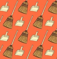 Sketch broom and dust pan vector