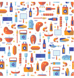 summer barbecue and grill seamless pattern vector image