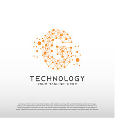 Technology logo with initial g letter network vector