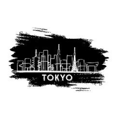 tokyo japan city skyline silhouette hand drawn vector image