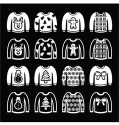 Ugly Christmas sweater on jumper white icons set vector