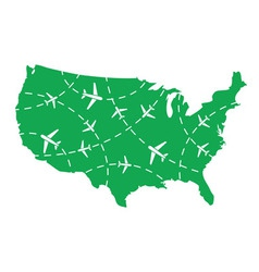 USA map with airplane routes vector