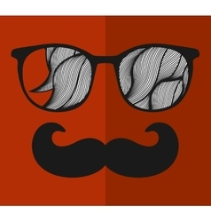 Vintage eyeglasses with reflection vector