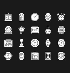 watch white silhouette icons set vector image