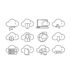 web cloud services icons internet sync computer vector image
