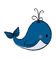 Whale cute cartoon vector