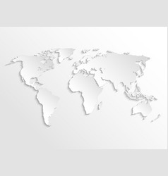 White paper earth 3d map template vector