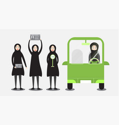 woman can drive a car in saudi arabia on the vector image