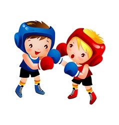 Boy and Girl Boxing vector image