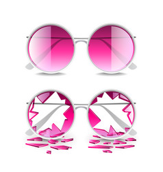 broken pink glasses isolated on white vector image