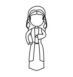 cartoon virgin mary manger christmas outline icon vector image
