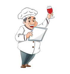 chef holding a menu and glass of wine vector image vector image