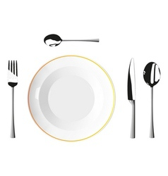 Cutlery and plates vector image vector image