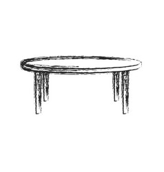 round table wood furniture sketch vector image