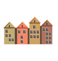 row of town houses with attics and colorful walls vector image